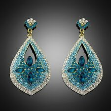 New Design Gradient Blue Drop Leaf Crystal Rhinestone Women Chunky Earring Club