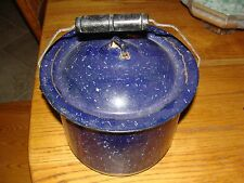 OLD VINTAGE ANTIQUE BLUE METAL CHAMBER POT WITH HANDLE