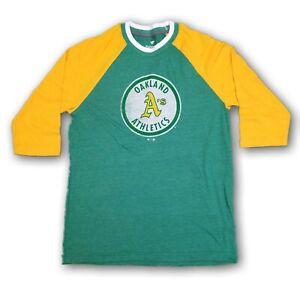 Oakland Athletics A's MLB Fanatic Men's 3/4's Sleeve Green/Yellow T-shirt