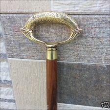 Antique Style Victorian Brass Handle Cane Wooden Walking Stick Vintage Gift Men