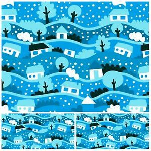 Polycotton Fabric Craft BLUE CHRISTMAS XMAS SNOW Metre Material Special Offer