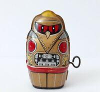 Vintage SUPER RARE Yone Gold Owl Robot windup clockwork tin toy, Japan, 1970's
