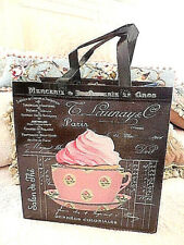 ❤️ Teacup pink roses cupcake PARIS French script Reusable Shopping Tote Bag ❤️