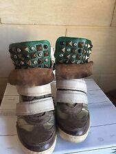 Baskets Compensées AS 98 Airstep Taille 37 Marant Cuir Clous Vert Bronze Doré