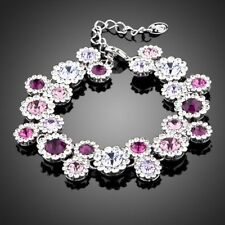 New 18K Pink Gold GP Made With Swarovski Crystal Elements Flower Bangle Bracelet