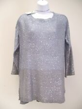 Jaclyn Smith Womens Sequin Sweater M Medium 3/4 Sleeve Light To Darker Blue