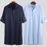 Mens Kurta Pajama 100% Cotton Shirt  Top Tunic Indian Kurta Short Kaftan T shirt