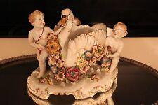 Large Von Schierholz German China Cherub Angel With Swan Porcelain Centerpiece