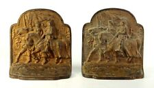 ~ Antique Pair Bookends Cast Iron Knights Army on Horses Iron Cross Hubley 246