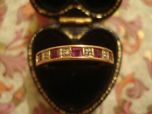 Very Pretty 9CT Gold: Square Cut Ruby Gemstones & Diamonds Eternity Design Ring