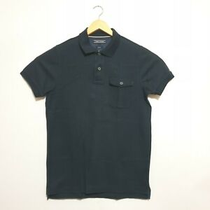 Tommy Hilfiger Polo Shirt Sz S Navy Blue Slim Fit Short Sleeve Top Cotton Mens