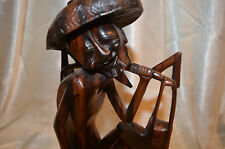 """VTG-50s Detailed Hand carved Wood Chinese Asian Shoa Lao Statue W hole 12"""" Tall"""