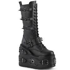 Demonia Women's Swing 327 Knee High Boot Black Vegan Leather Size 6 M
