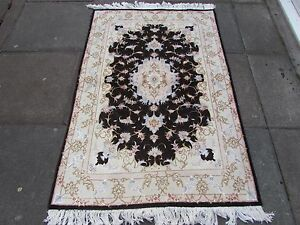 Fine OLD Traditional Hand Made Vintage Rug Wool Silk Black Carpet Rug 155x103cm