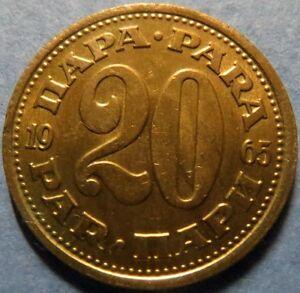 *UNCIRCULATED, 1965 YUGOSLAVIA  20  PARA COIN, Beautiful Luster, Nice  Coin