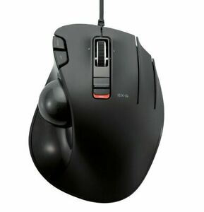 ELECOM Wired Thumb-Operated Trackball Mouse, 5-Button Function with Smooth Track