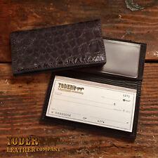 Brown Alligator Checkbook Cover Amish Handmade - Genuine Alligator Check Holder