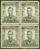 Southern Rhodesia 1937 2s Black & Brown SG50 V.F MNH & VLMM Block of 4