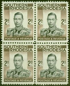 Southern Rhodesia 1937 2s Schwarz & Brown SG50 V.F MNH & Vlmm Block Of 4