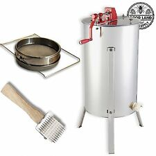 Beekeeping Stainless Steel 2 Frame Honey Extractor, Uncapping Roller & Strainer