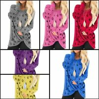 O Neck Pullover Tops Casual Long Sleeve Womens Jumper Floral T-Shirt Loose