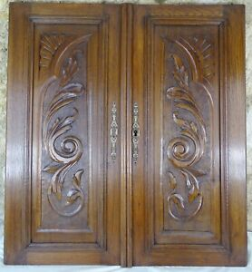Pair of Antique French Carved Wood Doors Wall Panels Solid Oak - Scrolls