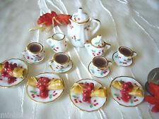 =KAFFEE-SET für 4 mit KIRSCH-CREPES= Puppenstubenminiaturen 1:12 / 1:10 by HW