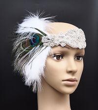 Vintage Peacock Feather Flapper Headband Headdress Diamante Headpiece Hen Party
