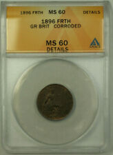 1896 Great Britain 1 Farthing Coin Victoria ANACS MS 60 Details Corroded