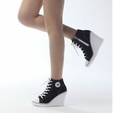 Canvas Wedge Zip Trainers for Women