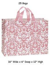Plastic Bags Shopping 25 Pink Damask Frosty Large Gift 16 x 6 x 12 Frosted Vogue