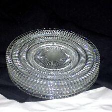 "5 Vintage Hazel Atlas Beehive Clear Glass 6.5"" Dessert Salad Plates Tiered Rows"