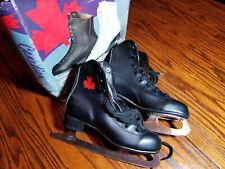 Vintage Mid 1960s Canadian Flyer Black Figure Skates Mens Size 4 Ice Skates