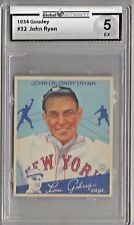 1934 Goudey John Ryan Card # 32 Global Authority 5 Excellent Condition