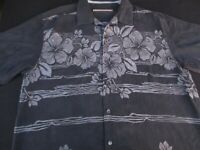 Tommy Bahama Mens Hawaiian Aloha Button Front Short Sleeve Silk Shirt Large L