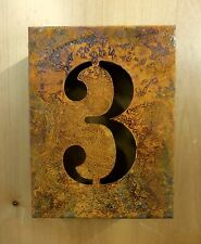 "8"" RUSTY RUSTED INDUSTRIAL METAL BLOCK CUT SIGN NUMBER THREE #3 house address"