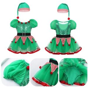 Toddlers Girls Christmas Costume Santa Helper Festive Outfit Xmas Tutu Dress Set