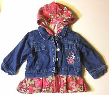 B.T. Kids Denim Jacket With Flower Print Hood And Ruffle At Hem Size 12 Months