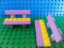 LEGO Minifig BENCHES x 2 Purple Yellow Flower Seat Accessories Friends Creator