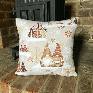 992. Christmas Dwarfs in Brown 100% Cotton Cushion Cover Various sizes