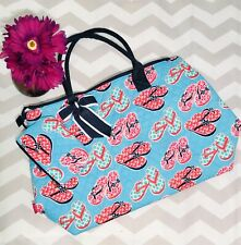 ⭐️ N GIL ⭐️ Blue & Pink Flip Flops Quilted XL Over-Sized Zippered Beach Bag Tote