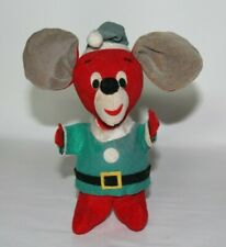 Vintage Santa Felt Mouse w Green Jacket Christmas Figurine Japan
