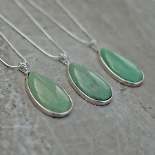 "Green Aventurine Necklace Teardrop Pendant Silver Plated 20"" Chain Fast Post UK"