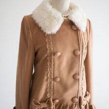 🌹LIZ LISA🌹Fur Brown Bow Pea Coat Japan Size M Romantic Lolita Hime Gal C749