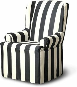 FURNITURE SKINS Hampton Wing Chair Slipcover, Charcoal, NEW