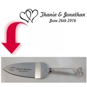 Cake Knife and Server Set - Linked Interlocking Hearts - Free Dark Engraving