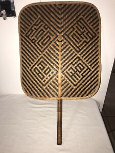 Vintage Large Hand Church Fan Hand Woven Rattan Wicker Black & Natural 24.75""