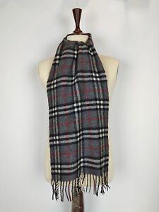 Burberry genuine Vintage 100% Lambswool Nova check Grey winter Scarf Scarves