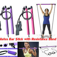 Portable Pilates Bar Kit with Resistance Band Pilates Exercise Stick Toning NEW