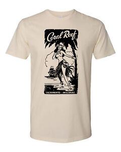 Retro Tiki Art Tee T Shirt Bar Mug Restaurant Coral Reef Sacramento CA Hula Girl